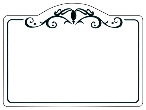 Displays2go Write-on Store Price Tags, Sold in Sets of 50 – White with Black Scroll (TAGBLANK02) by Displays2go