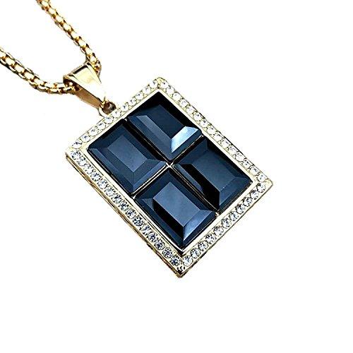 c0e20039046b Buena MCSAYS Hip Hop Jewelry - Colgante de piedra preciosa grande (60 cm