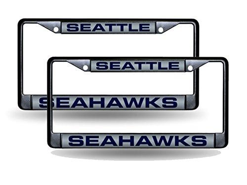 Seattle Seahawks Black Metal (2) Laser License Plate Frame Set