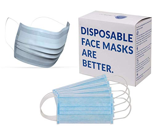 Blue Shoe Guys 100 Premium Earloop Face & Dust Masks | Surgical & Medical-Grade Mouth Covers & Nose Filters for Allergies, Dust, Flu, Smoke Air, Pollution, Germs, Allergy | One Size Fits Most