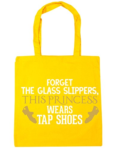 HippoWarehouse Forget the glass slippers, this princess wears tap shoes Tote Shopping Gym Beach Bag 42cm x38cm, 10 litres Yellow