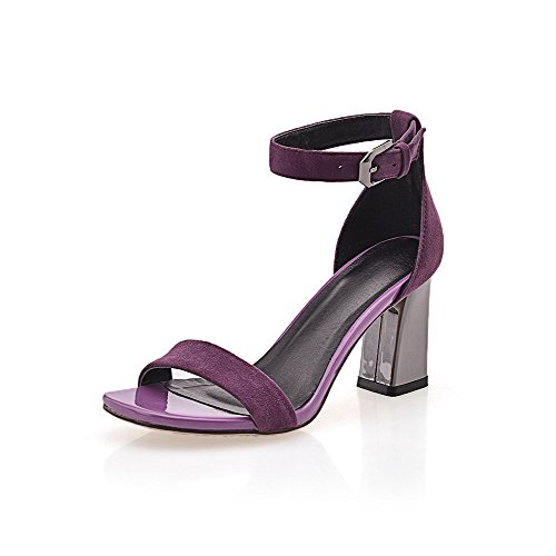 AmoonyFashion Womens Imitated Suede Solid Buckle Open-Toe High-Heels Sandals Purple tuQAX
