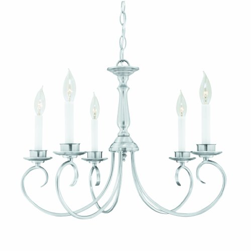 Nickel Brushed Light Five Colonial (Thomas Lighting M2021-78 Candelabra Five-Light 23-Inch W by 16-3/4-Inch H Chandelier, Brushed Nickel)