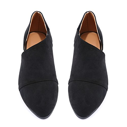 Office Womens Ankle Casual FISACE Casual Cut Toe Out Boot Slip Black Loafer Pointed On on Slip Dressy P466dq