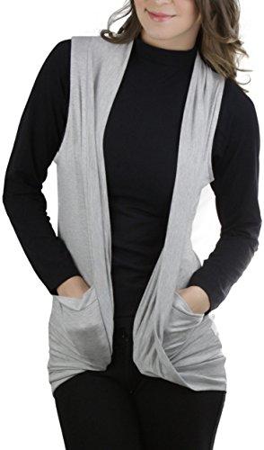 ToBeInStyle Women's Sleeveless Open Front Cardigan - Heather Gray - (Heather Grey Sleeveless)