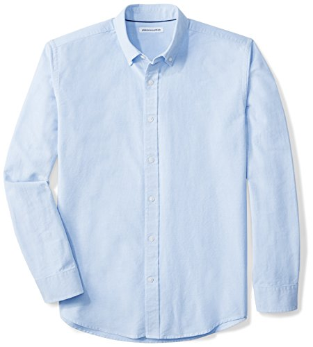 Amazon Essentials Men's Regular-Fit Long-Sleeve Solid Oxford Shirt, Blue, -