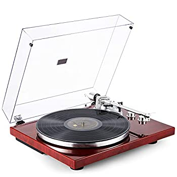 Image of 1byone Belt Drive Turntable with Wireless Connectivity, Built-in Phono Preamp and USB Digital Output Vinyl Stereo Record Player with Magnetic Cartridge, Red Turntables