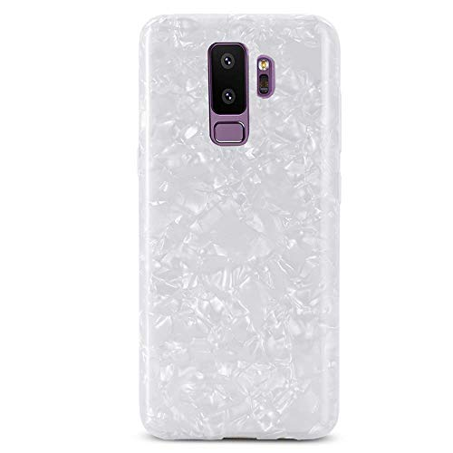 for Samsung Galaxy S9 Plus Case for Girls LAPOPNUT Glitter Pearly-Lustre Translucent Case Shell Pattern Phone Case Flexible Soft Slim Fit Protective Cover for Samsung Galaxy S9 Plus White