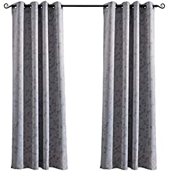 MYSKY HOME Twigs Fashion Design Print Thermal Insulated Blackout Curtain with Grommet Tops for Bedroom, 52 by 95 inch, Grey - 1 Panel