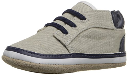 Robeez Tyler Low Top Hard Sole Mini Shoe (Infant), Cool Grey, 9-12 Months M US