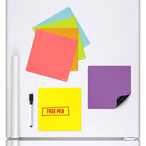 Pack of 6 Coloured Squares Magnetic Whiteboards that stick to a Refrigerator By CKB Ltd Dry Wipe Planner Magnet Signage Sheet With Marker & Pen Colourful Kitchen Notice Daily Menu Shopping To Do L - Dry Erase Squares