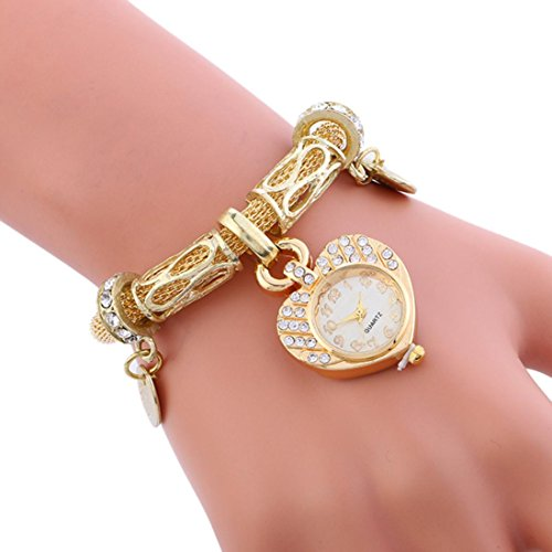 Women Chic Watches, SINMA Charm Heart Form Dial Wristwatch Steel Mesh Belt Bracelet Analog Quartz Watch (Gold)