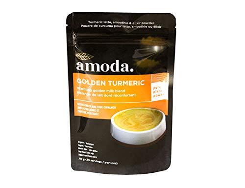 Golden Milk - Organic Golden Turmeric Ginger by Amoda. Golden Milk Powder + Turmeric Latte Powder + Turmeric Ginger Tea + Smoothie Powder. 70g/25 servings ()