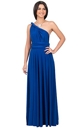 KOH KOH Petite Womens Long Bridesmaid Multi-way Wedding Convertible Wrap Infinity Cocktail Sexy Summer Party Formal Prom Transformer Gown Gowns Maxi Dress Dresses, Cobalt / Royal Blue S 4-6