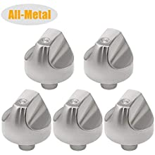 Romalon WB03T10329 WB03X32194 Cooktop Range Burner Control Dial Knob Stainless Steel 5pack Compatible With GE-Replace Part Number WB03X25889 AP5985157