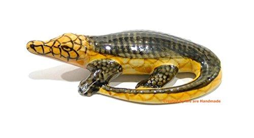 Handmade Alligator Crocodile Animal Porcelain Ceramic Figurine Figure Miniature Doll house
