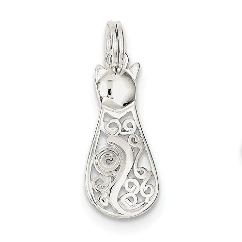 Sterling Silver Fancy Cat (Sterling Silver Cat Oval Bracelets)