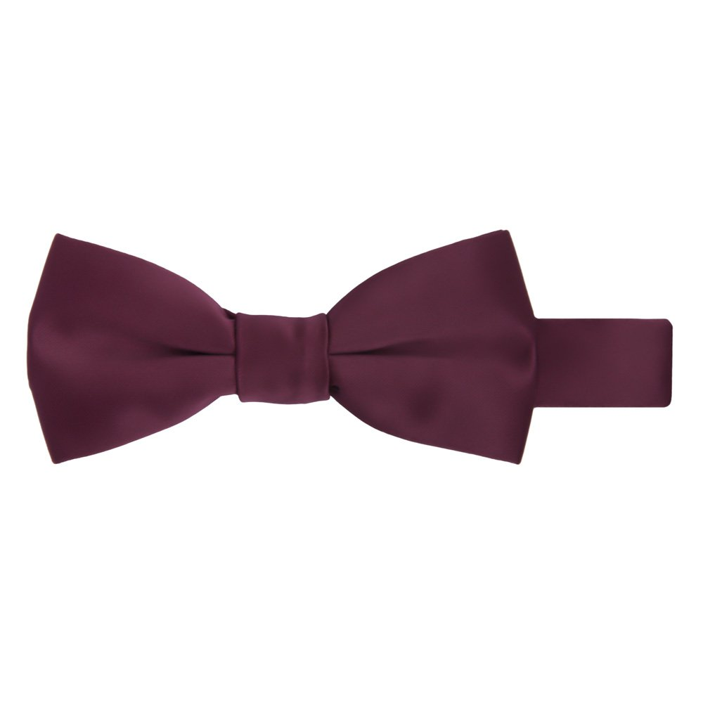 Jacob Alexander Boy's Kids Pretied Banded Adjustable Solid Color Bowtie - Burgundy