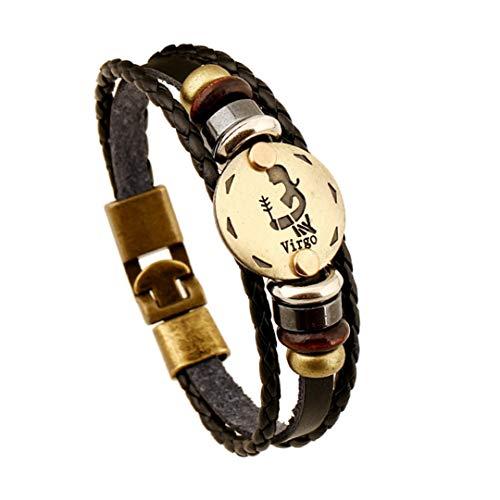 Jade Bronze Urn - able Bronze Alloy Buckles Zodiac Signs Bracelet Punk Leather Bracelet Wooden Bead Black Hematite Lover Jewelry Virgo 20.5cm