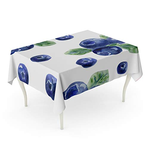Tarolo Rectangle Tablecloth 52 x 70 Inch Colorful Blueberry Beautiful Natural Fresh Blueberries Bright Blue Violet and Green Watercolor on Pattern Table Cloth