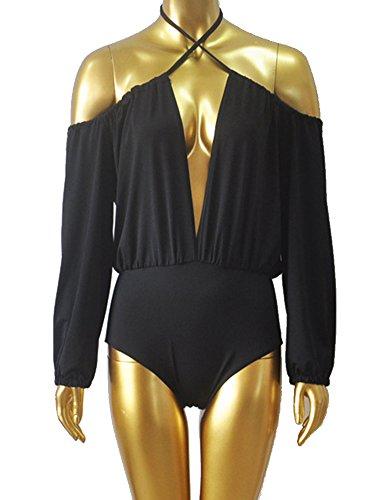 Allegrace Women Sexy String Halter Neck Bodysuit Off Shoulder Leotard Jumpsuit Black XL
