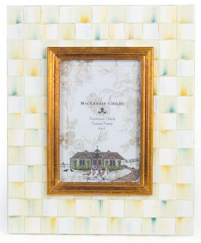 MacKenzie-Childs Parchment Check Enamel Frame - 4\