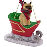 Cairn Terrier Red Sleigh Christmas Ornament