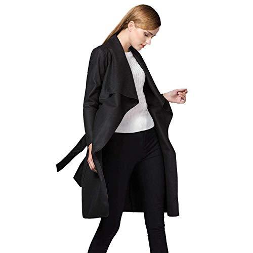 De Solapa Sólido Cinturón Mujer Largos Fit Cardigan Otoño Chaquetas Manga Fashion Larga Primavera Outerwear Slim Color con Modernas Abrigos Negro Gabardina Elegantes PPRqn7SB
