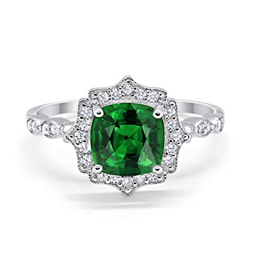 Blue Apple Co. Halo Art Deco Engagement Ring Cushion Simulated Emerald Round Cubic Zirconia 925 Sterling Silver, Size-9