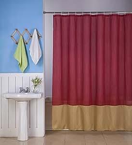 Gorgeoushome H10 1 New Burgundy Gold Fabric Bathroom Bath Shower Curtain 2 Shade