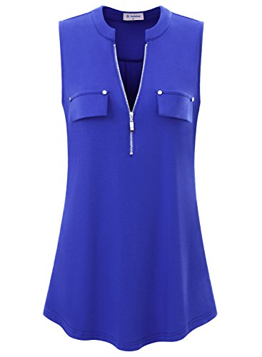 Bulotus Women's V-Neck Casual Tunic Tank Tops Zipper Sleeveless Blouse Shirt Blue (Best Jacket To Wear With Jeans)