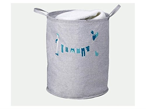 Gelaiken Lightweight Clothing Pattern Storage Bucket Cotton and Linen Bucket Sundries Storage Bucket(Grey) by Gelaiken