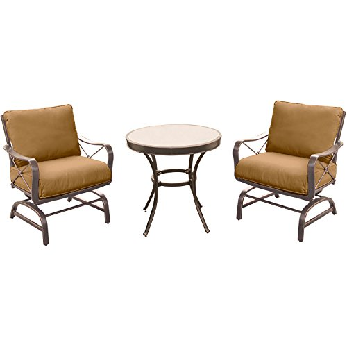 Hanover SUMRNGTDN3PCG Summer Nights 3 Piece Chat Set with 2 Cushioned Rockers and a 30″ Glass-top Table Outdoor Furniture, Tan For Sale