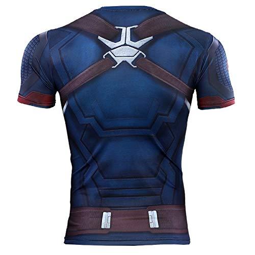Cosfunmax Superhero Captain Team Leader Compression Shirt Sports Gym Ruining Base Layer (XS, CA Shirt) by Cosfunmax (Image #2)