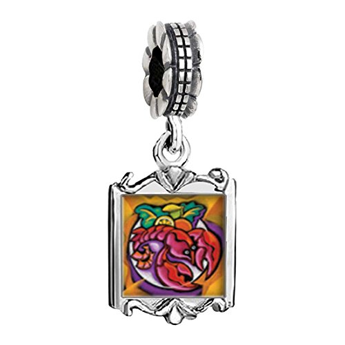 GiftJewelryShop Silver Plated Art Lobster Dinner Photo Family Mom & Baby Girl & Dad Dangle Bead Charm Bracelet