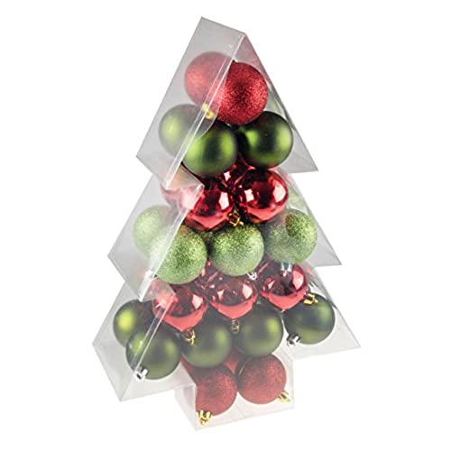 green red 34 piece shatterproof christmas tree ornament by clever creations festive holiday decor 60mm balls perfect for all christmas trees