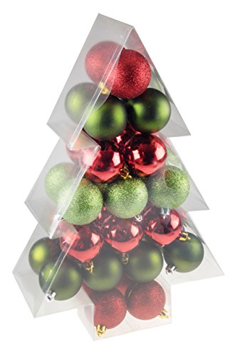 Green & Red 34 Piece Shatterproof Christmas Tree Ornament by Clever Creations | Festive Holiday Decor | 60mm Balls | Perfect for all Christmas Trees | Festive Tree Shaped Package Clever Christmas Ornaments