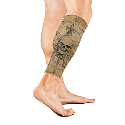 (Leg Sleeve Compass Drawing Compression Socks Support Non Slip Calf Sleeves - Improve Circulation for Shin Splint, Calf Pain Recovery, Running, Cycling, Travel, Sports 1 Pair)
