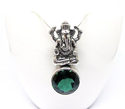 925 sterling silver Ganesha pendant with genuine green quartz, spiritual silver pendant with natural stone,
