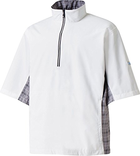 FootJoy DryJoys Tour XP Short Sleeve Rain Golf Pullover (White/Grey Check/Black/Medium)