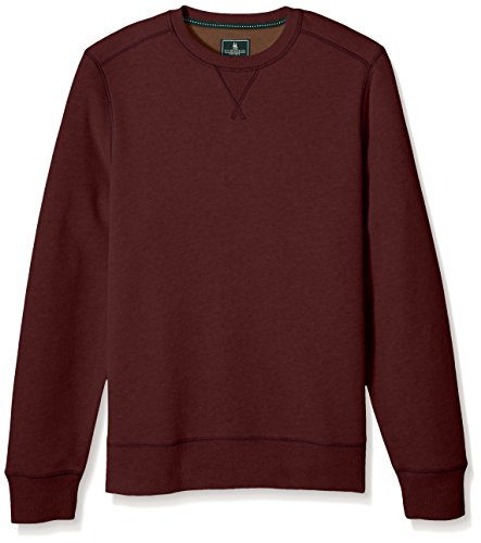 G.H. Bass & Co. Men's Mountain Wash Fleece Crew Long Sleeve Sweatshirt, Chocolate Truffle, Large