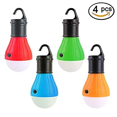 4 Pack LED Tent Lamp Viewpick Portable LED Lantern Waterproof Emergency Light Bulb Battery Operated 3 Mode Night Light for Camping Backpacking Hiking Fishing Shed Playhouse Indoor Outdoor Activities