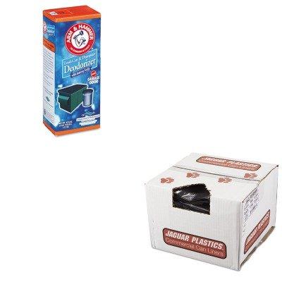 KITCHU3320084116JAGR3858H - Value Kit - Jaguar Plastics R3858H Black Low Density 1.5 Mil Repro Can Liners, 55-56 Gallons (JAGR3858H) and Arm And Hammer Trash Can amp;amp; Dumpster Deodorizer (CHU3320084116)