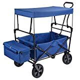 GreenWise™ Collapsible Canopy Folding Wagon Utility Cart Rubber Tire Garden Shopping Toy Cart
