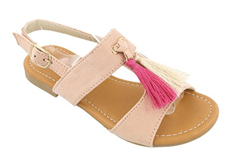 (Top Faux Leather Pink Toddler Gladiator Sandals Fringe Cute Cut Out Low Heel Flat Prime Tassle Best Easter Basket Stuffer Sale Sweet Small Dress Shoe Winter Sale for Little Girl)