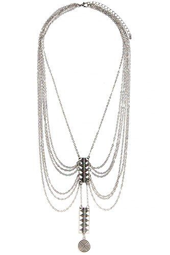 [TRENDY FASHION JEWELRY ETCHED PATTERN DRAPED CHAIN NECKLACE BY FASHION DESTINATION | (Antique] (Lobster Claw Costume Pattern)