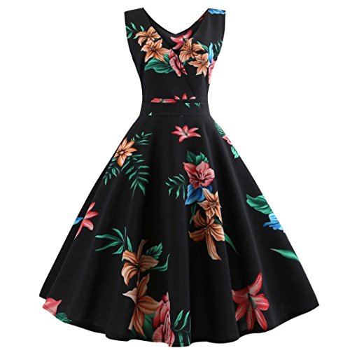 Women Vintage Printing Dress, AgrinTol Bodycon Sleeveless Halter Evening Party Prom Swing Dress