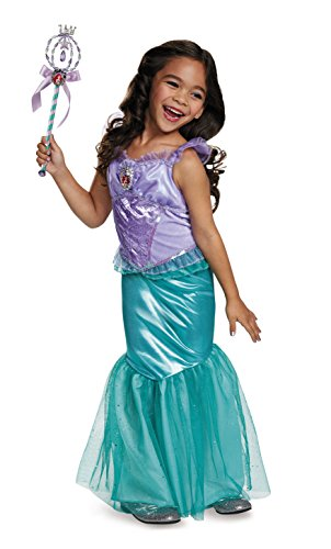 Ariel Deluxe Disney Princess The Little Mermaid Costume, X-Small/3T-4T -