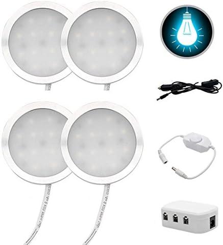 Set of 4 LEDs Interior Lights Kit 12V LED Roof Spot Cool White Universal Lighting Up for Camper Van Motorhome Kitchen with Splitter Adapter