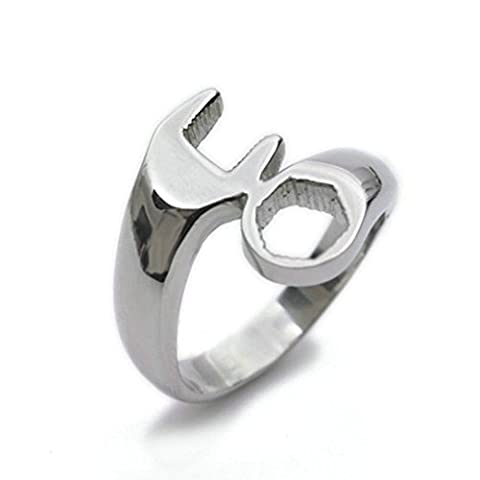 Stainless Steel Ring for Men, Wrench Ring Gothic Silver Band 7MM Size 8 Epinki